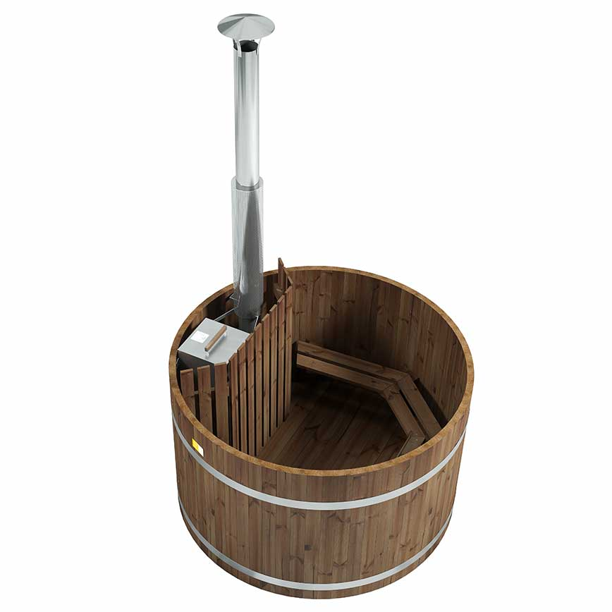 Holzbadefass mit Tauchofen
