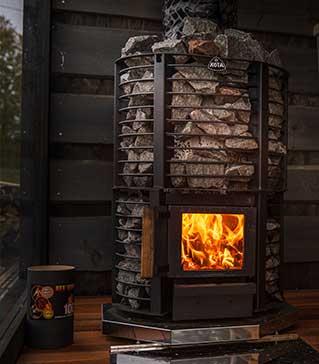 Holzofen für Sauna.